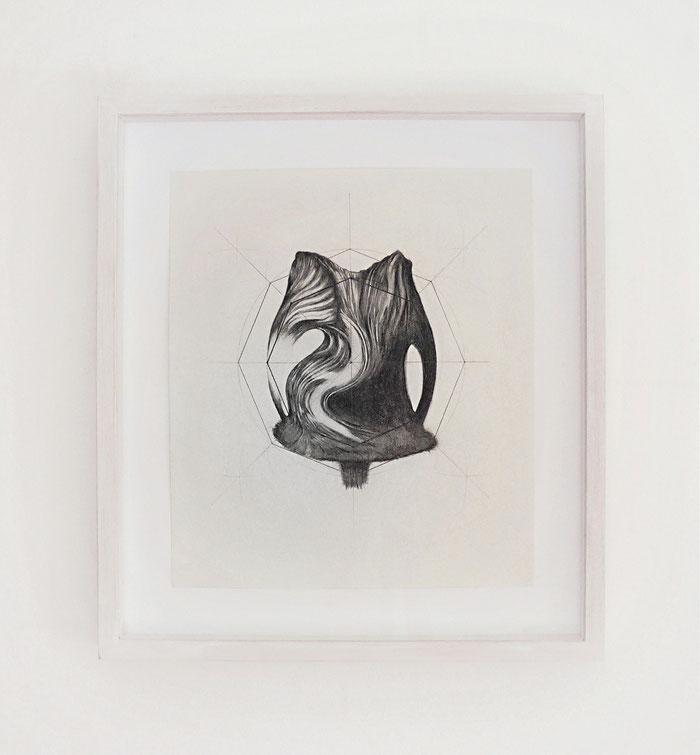 Distanze Entropiche 2017 graphite on paper with frame, cm 35 x 39