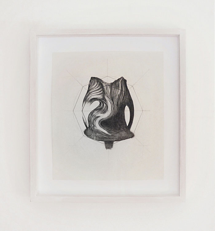 Distanze Entropiche, graphite on paper with frame, cm 35 x 39, 2017