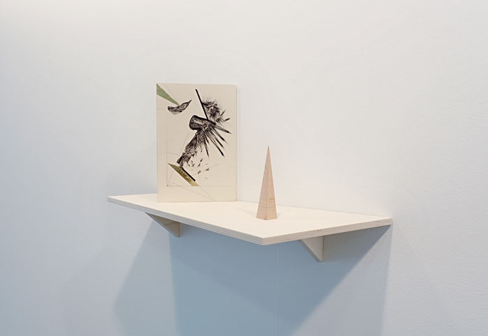 Osservatorio #2, mixed media on wood and a pyramid on a shelf, 2017