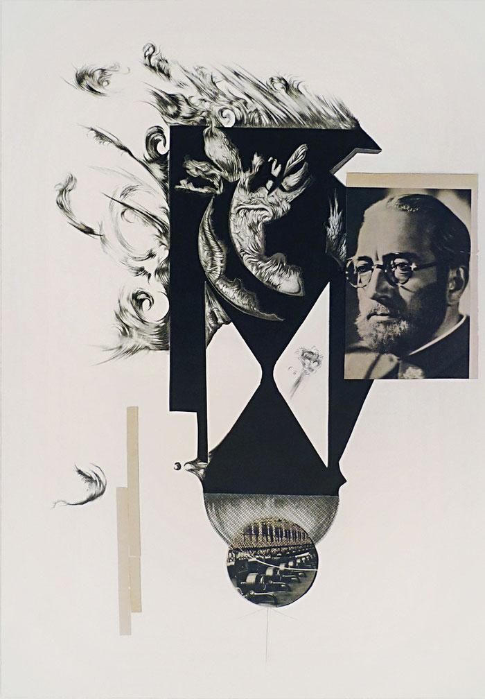 Demiurgus, graphite, tempera a guache, collages on paper, cm 30,5 x 45,5, 2016