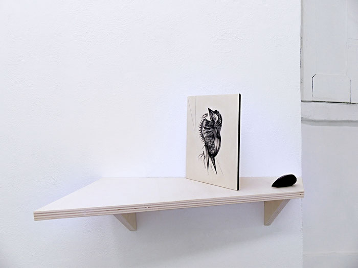 Osservatorio #1, mixed media on wood and unknown object on a shelf, 2017