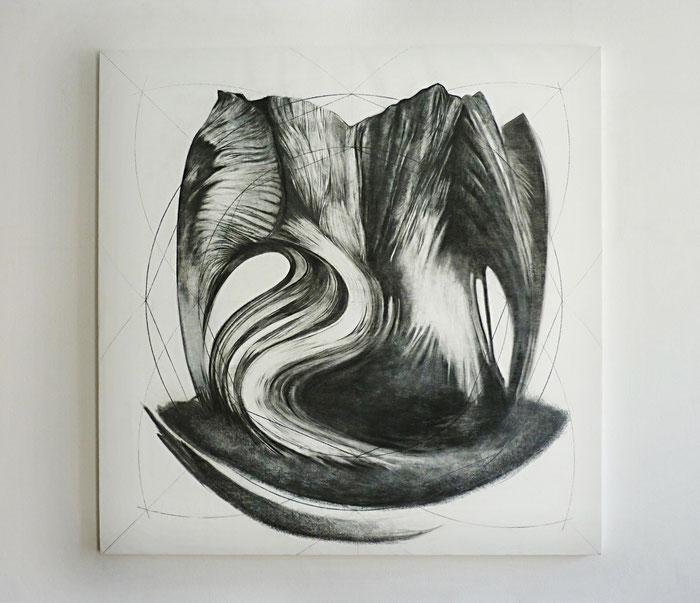 Distanze Entropiche 2017 graphite and charcoal on canvas, cm 98 x 99