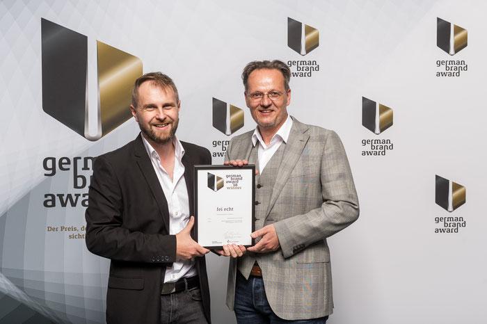 """Preisverleihung des German Brand Awards 2018 für die Marke """"fei echt"""" mit Designer Rolf Hering"""
