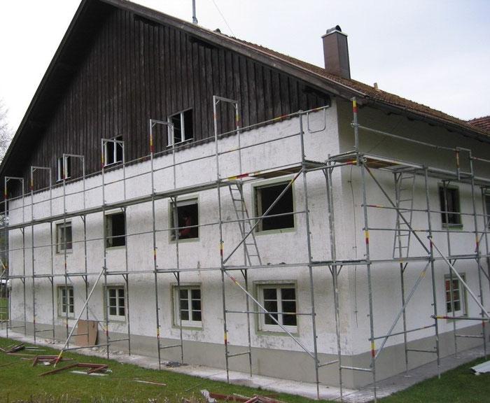 Die alten 1-flgl. Fenster aus den 60er Jahren wurden demontiert