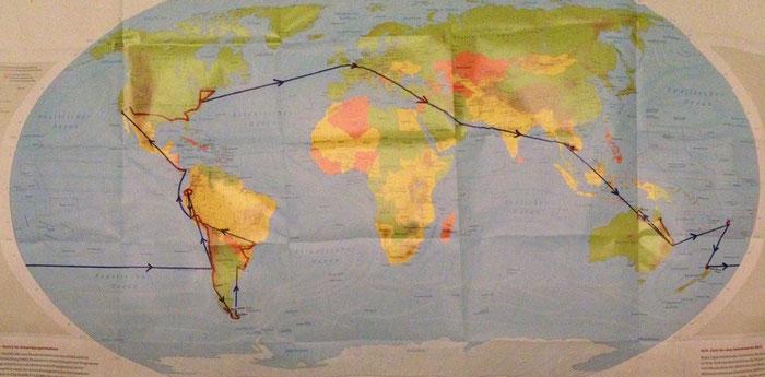 Unsere geplante Reiseroute (schwarz gleich Flugstrecke, rot gleich Landstrecke)