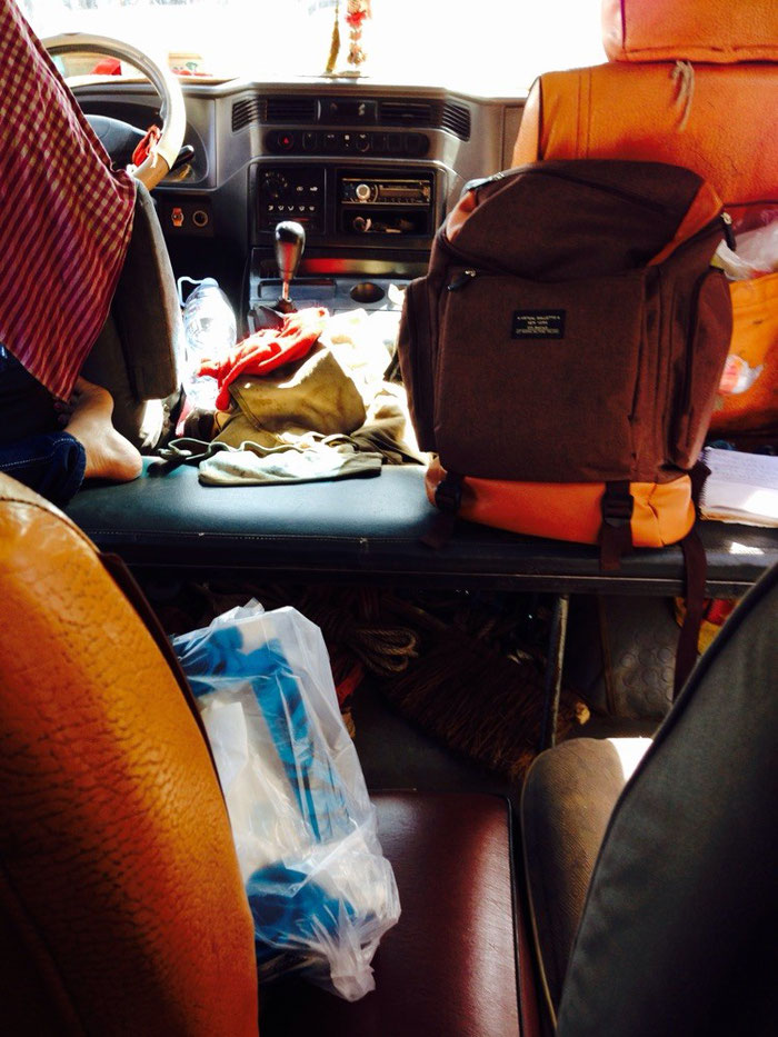 So sah es im Minibus aus, bevor die Fahrgäste eingestiegen waren.