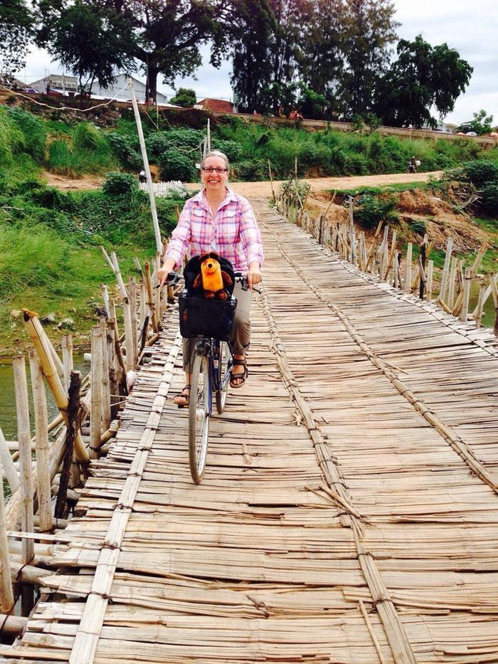 Die Greyhoundin ganz mutig beim Befahren der Bambus-Brücke.