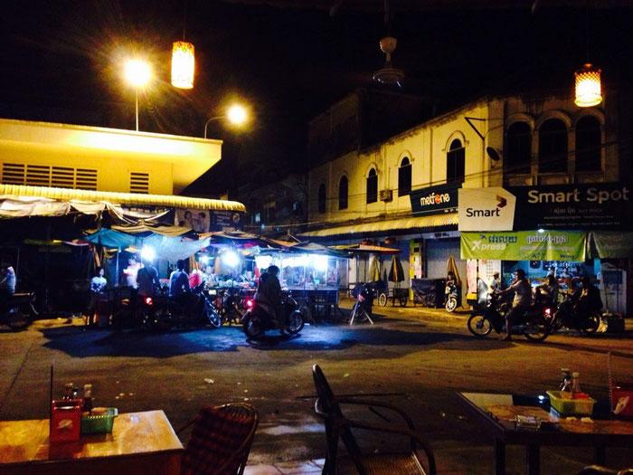 """Blick auf den Markt vom Restaurant """"Tokae"""" aus."""