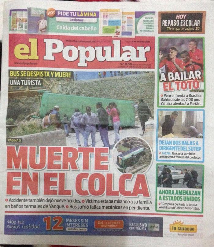 Das Unglück auf Seite 1 der Zeitung in Arequipa
