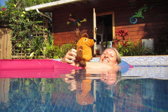 Maus im Pool vor ihrem Feriendomizil
