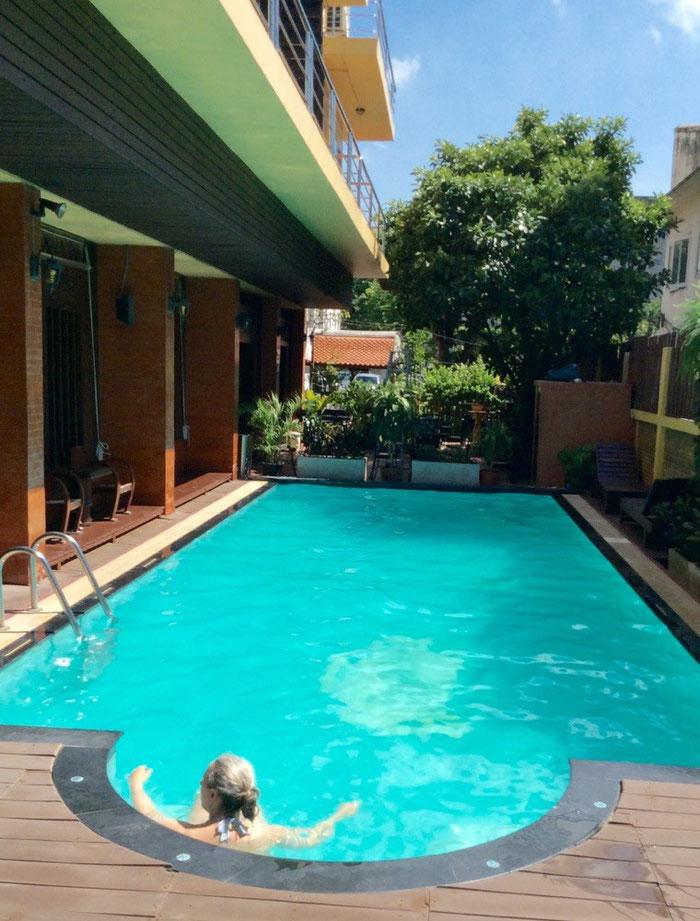 Die Greyhoundin beim Relaxen im 31 Grad warmen Pool des Hotels Lamphutreehouse