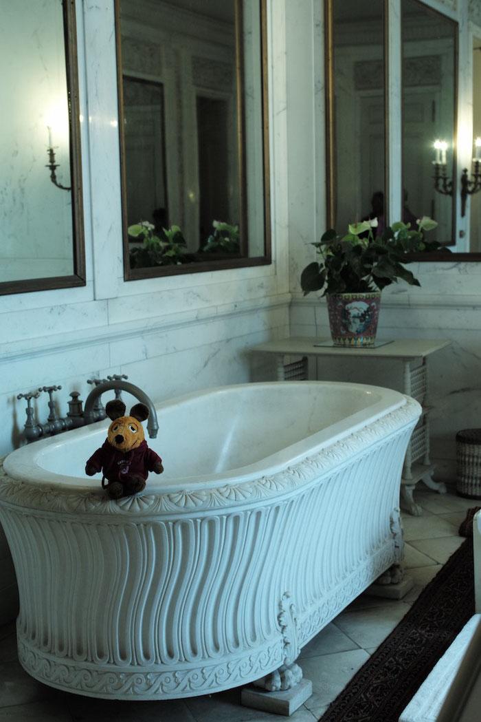 Maus bei Vanderbilts auf dem Rand der Marmor-Badewanne.