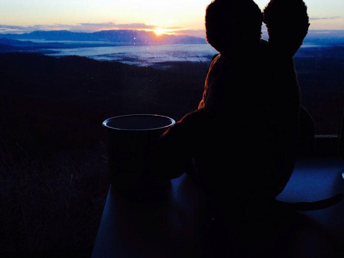 Maus war die Erste von uns, die dank einer Tasse Kaffee den Sonnenaufgang über Hinchinbrook Island genießen konnte