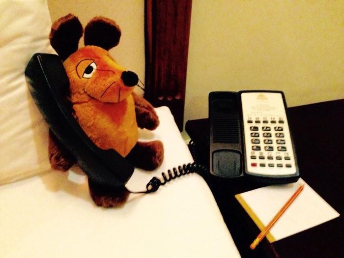 Sekretär Maus bei den Planungen der Tour