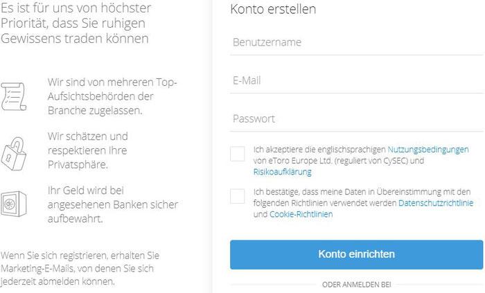 eToro - Formular Registrierung