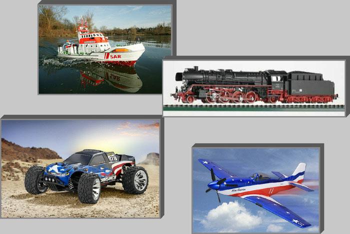 Ferngesteuertes Modellschiff von Graupner, H0 Dampflokomotive von Piko, RC Offroad Modellauto von Carson, Modellflugzeug von Graupner