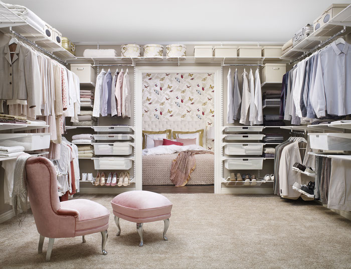 Regalsystem für begehbaren Kleiderschrank