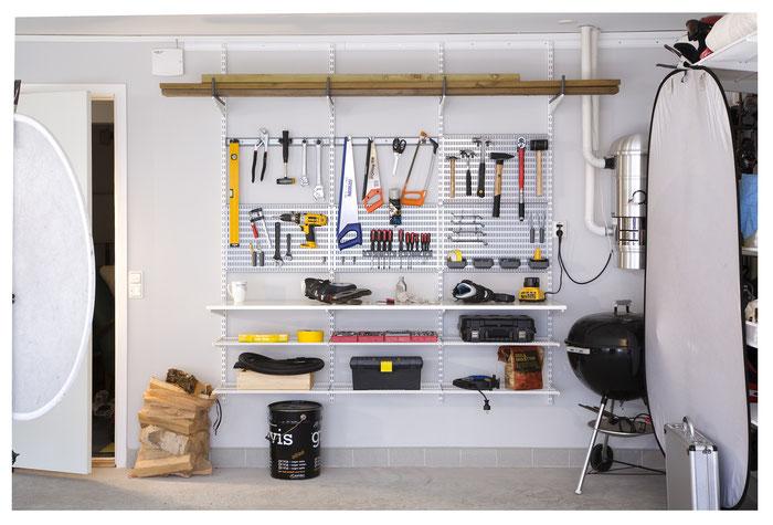 Garageneinrichtung, Regalsystem Garage, Garagenregal, Elfa Regalsystem, Regalsystem Keller