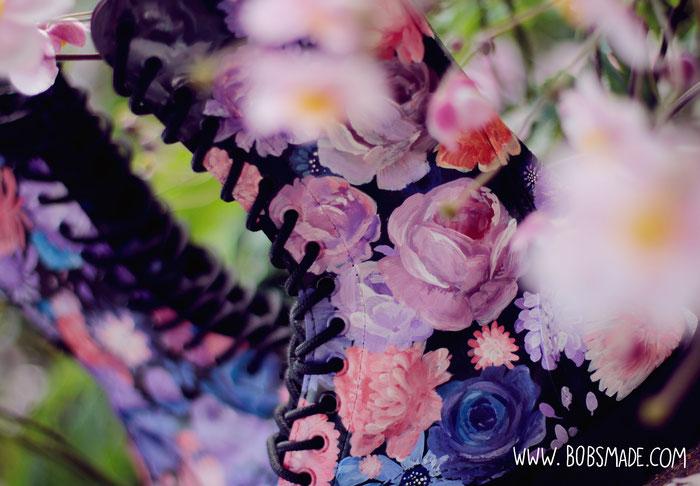 Flower boots purple blue rosé