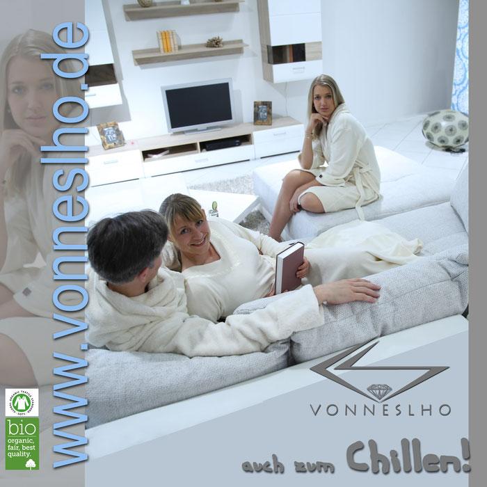 Bademantel mit Stil zum Wohlfühlen, Bio Baumwolle Faire Trade Luxusbademantel