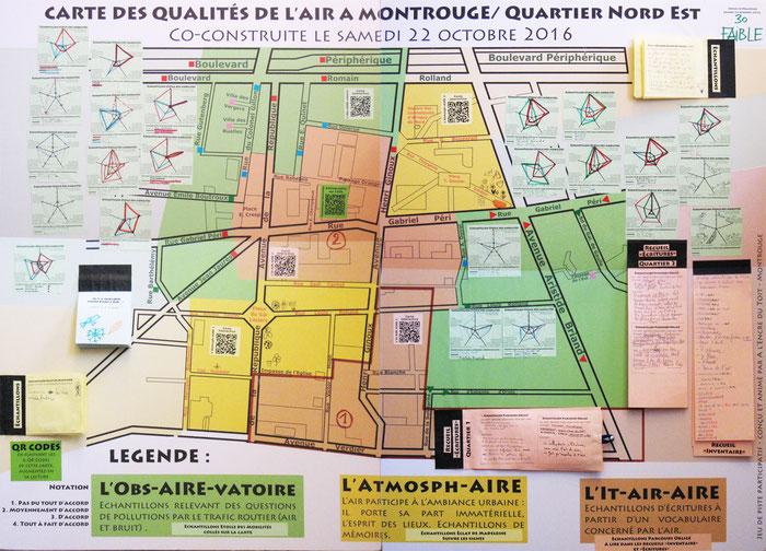 """Carte co-construite le samedi 22 octobre 2016 à Montrouge lors du jeu de piste """"Il y a quelque chose dans l'Air..."""""""