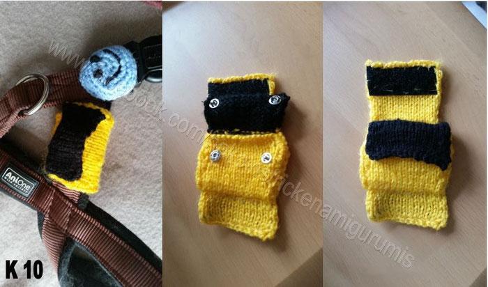 Kotbeutel Tasche mit Klett Verschluß und Druckknopf