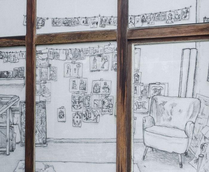 o.T. (Atelier III) . 2014 . Digitaldruck auf Papier, Kleister . 198 x 185 cm . Detail