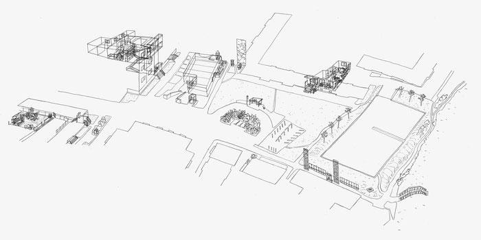 Am Südpark . 2020 . Bleistift auf Papier . 50 x 100 cm