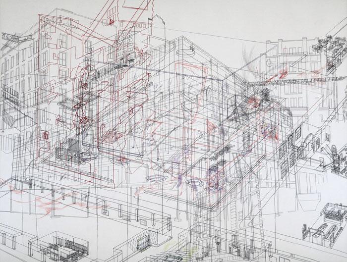 Palimpsest / Brühl Ecke Katharinenstraße . 2017 . Bleistift und Farbstift auf Papier . 69 x 90 cm