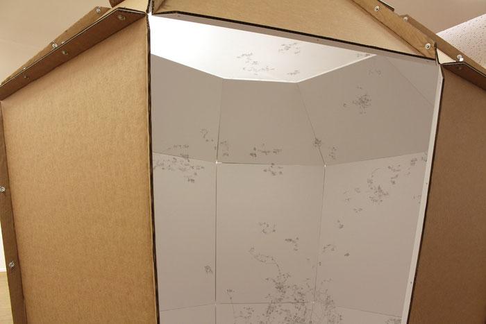 Mappa Mundi . 2014 . Papier, Bleistift, Wellpappe, MDF, Acrylglas, Schrauben . 210 x 240 x 200 cm . Detail