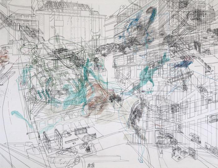 Palimpsest / Richard-Wagner-Platz . 2017 . Bleistift und Farbstift auf Papier . 69 x 90 cm