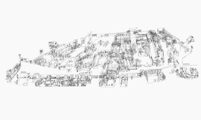 Spinnerei Leipzig . 2016 . Bleistift auf Papier . 90 x 150 cm . Privatsammlung