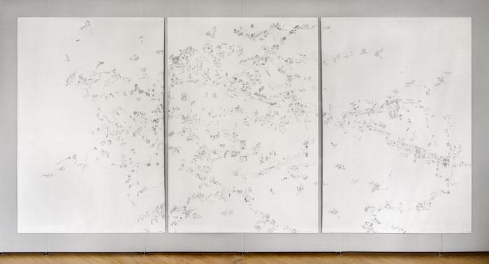 Nuova Pianta di Roma . 2014 . Bleistift auf Papier . 218 x 450 cm . dreiteilig