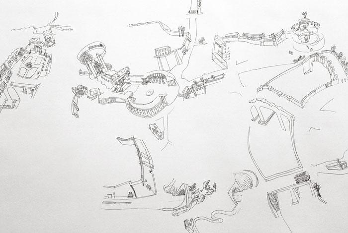 Nuova Pianta di Roma . 2014 . Bleistift auf Papier . 218 x 450 cm . dreiteilig . Detail