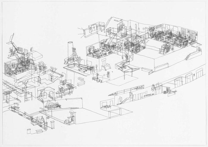 Meisterzimmer in der Spinnerei . 2018 . Bleistift auf Papier . 42 x 60 cm