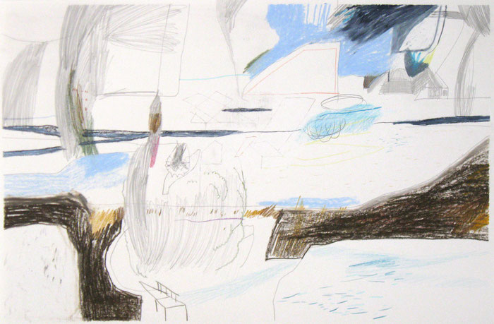 Bodden . 2016 . Bleistift , Farbstift, Wachskreide auf Papier . 39 x 59 cm