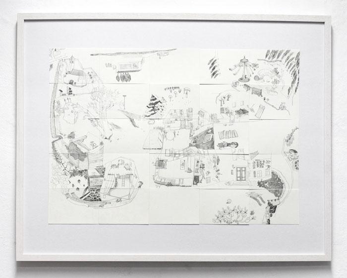 Kittendorf . 2014 . Bleistift auf Papier . 50 x 75 cm . Gemeinschaftsarbeit mit Johanne Ritter
