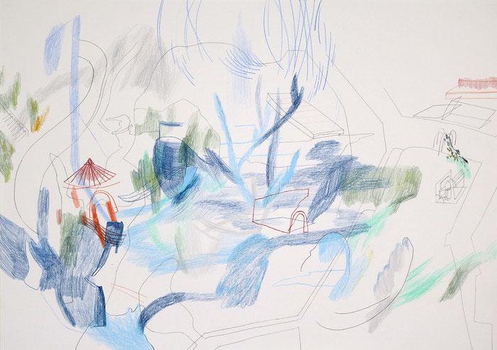 Schwanenfahrt . 2016 . Bleistift und Farbstift auf Papier . 42 x 59 cm