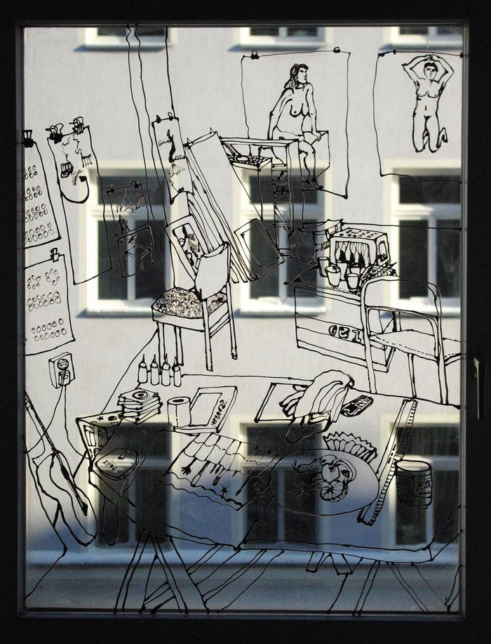 o.T. (AtelierII) . 2011 . Windowcolor auf Glas . 190 x 240 cm . Detail