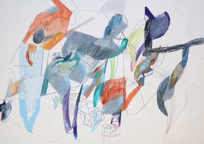 Das alte Spiel . 2016 . Bleistift , Farbstift, Wachskreide auf Papier . 40 x 60 cm