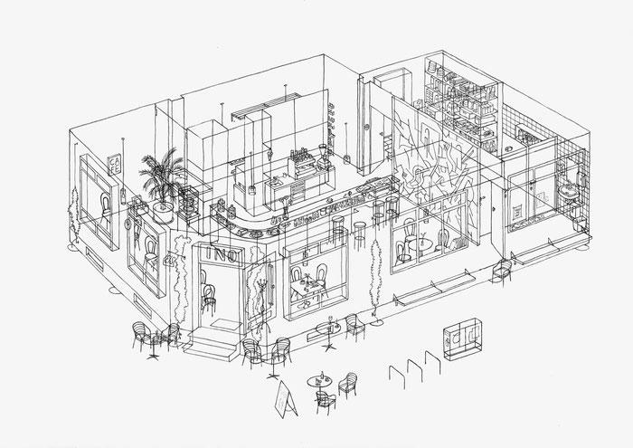 INO Café . 2020 . Bleistift auf Papier . 30 x 42 cm