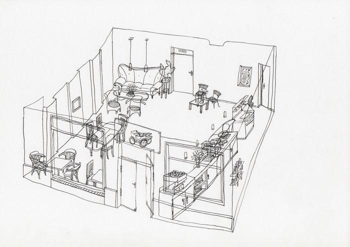 Café Kutsche . 2015 . Bleistift auf Papier . 21 x 29,7 cm