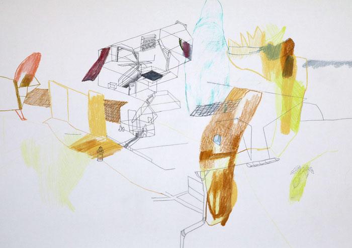 Milonga . 2016 . Bleistift , Farbstift, Wachskreide auf Papier . 40 x 60 cm