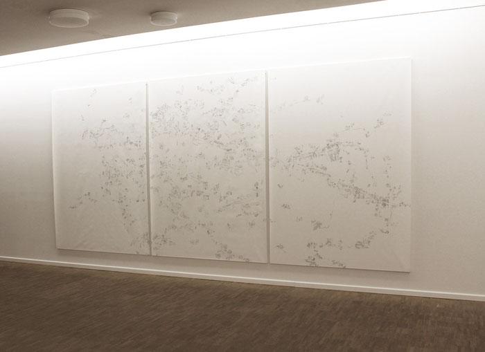 Nuova Pianta di Roma . 2014 . Bleistift auf Papier . 218 x 450 cm . dreiteilig . Ausstellungsansicht