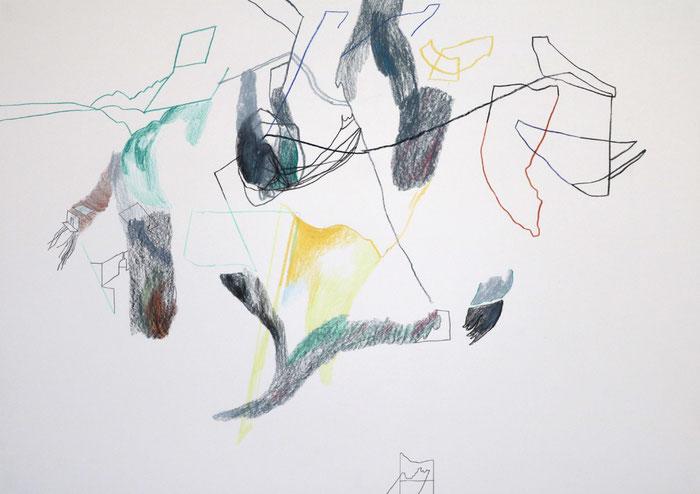 asimilarsi . 2016 . Bleistift , Farbstift, Wachskreide auf Papier . 40 x 60 cm
