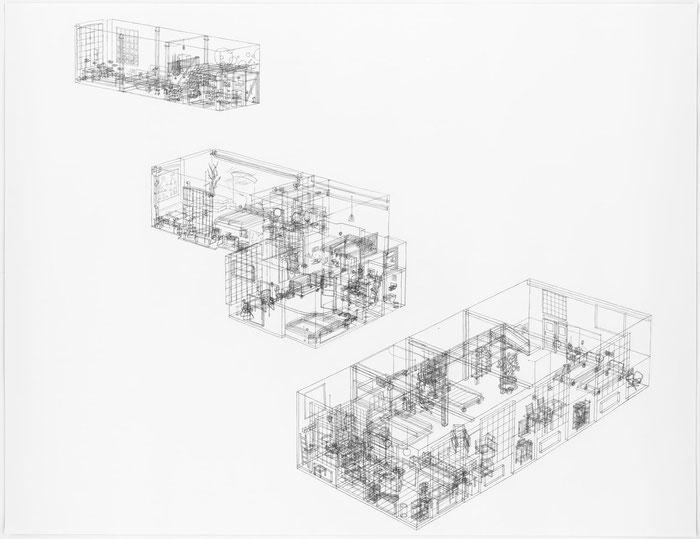 Meisterzimmer # 1-4 . 2018 . Bleisitift auf Papier . 72 x 94 cm