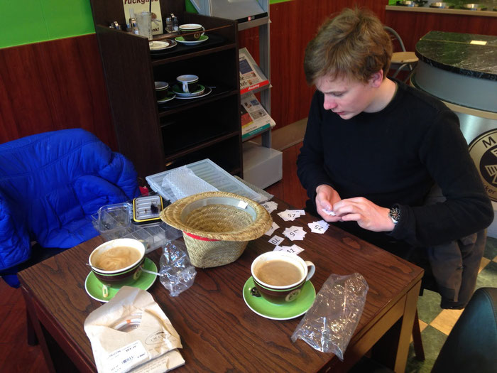 Sorting flies in a cafe in Munich. Flyfishing Danica Dudes Angeln Fliegenfischen