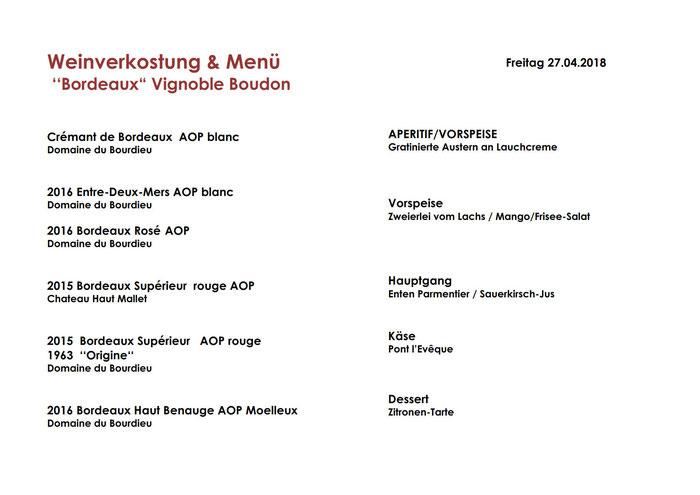 "Weinseminar ""Bordeaux"" am 27.04.2018 mit Patrick Boudon von der Vignoble Boudon"