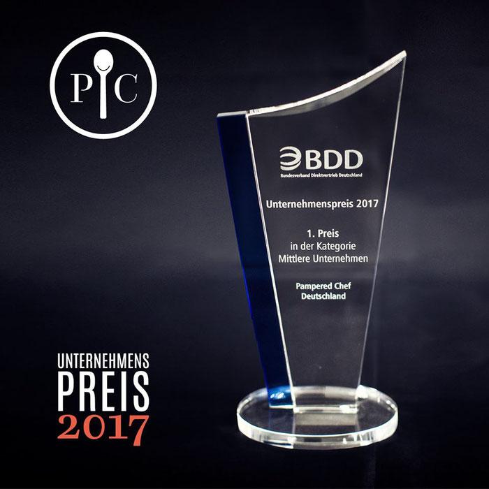 Pampered Chef Platz 1 für mittlere Unternehmen ausfgezeichnet vom Bundesverband der Direktvertriebe BDD