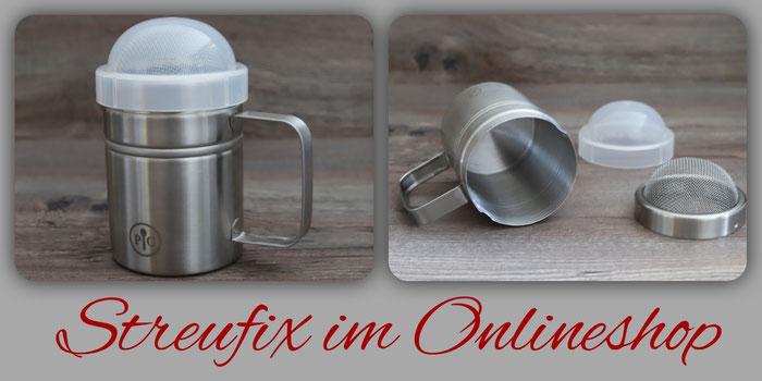 Pampered Chef Logo und Online shop zum bequemen online einkaufen von Pampered Chef Produkten Edelstahl Streufix